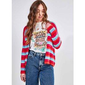 cardigan tricô listrado colorido