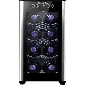 adega elctrolux 8 garrafas 1 porta preta acabamento alumínio acb08  bivolt