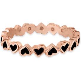 anel life corações esmaltado banho ouro rosé