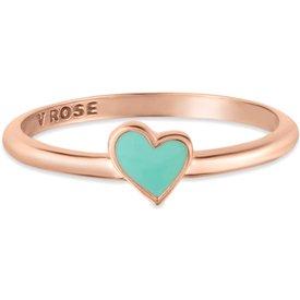 anel life coração esmaltado verde banho ouro rosé