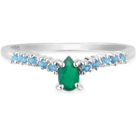 anel life ágata verde topázio azul