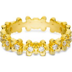 anel life flores miosótis banho ouro amarelo