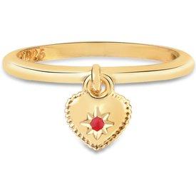 anel life segredos coração banho ouro amarelo