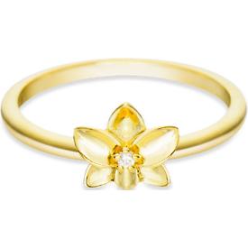 anel life flor orquídea banho ouro amarelo