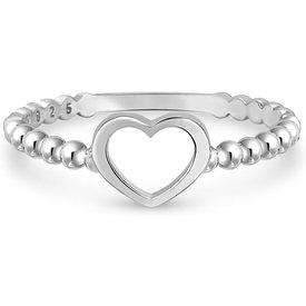 anel life bolinhas coração prata