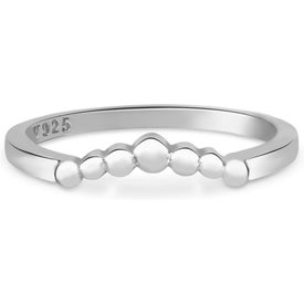 anel life triangular bolinhas prata