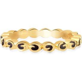 anel life círculos banho ouro amarelo