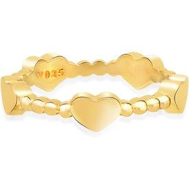anel life coração banho ouro amarelo