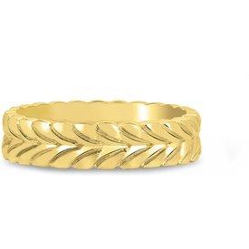 anel life folhas banho ouro amarelo