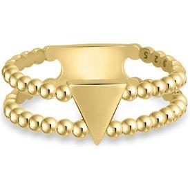 anel life bolinhas triângulo banho ouro amarelo