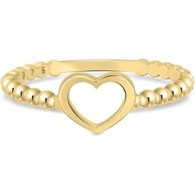 anel life bolinhas coração banho ouro amarelo