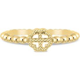 anel life trevo banho ouro amarelo