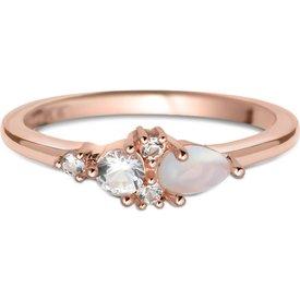 anel life rosé pedra lua topázios