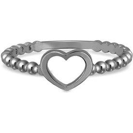 anel life bolinhas coração banho ródio negro