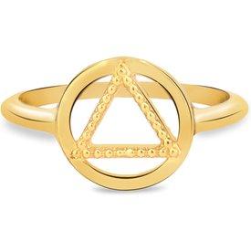 anel life enigma triângulo banho ouro amarelo