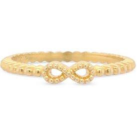 anel life infinito banho ouro amarelo