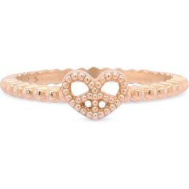 anel life coração paz amor banho ouro rosé