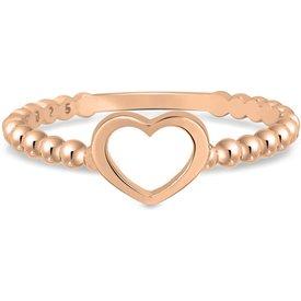 anel life bolinhas coração banho ouro rosé