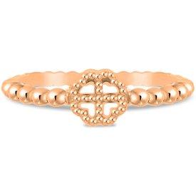 anel life trevo banho ouro rosé