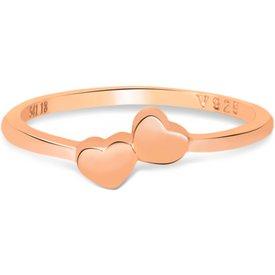 anel life dois corações banho ouro rosé