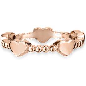 anel life corações banho ouro rosé