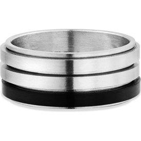 anel life masculinoço prateado preto