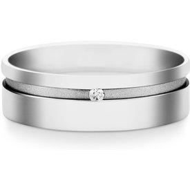 aliança casamento ouro branco diamante 6mm