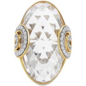 anel ouro amarelo cristais diamantes