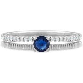anel ouro branco diamantes safira