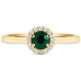 anel ouro amarelo diamantes esmeralda