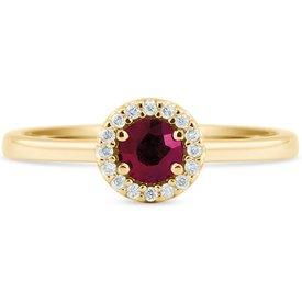 anel ouro amarelo diamantes rubi