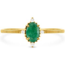 anel ouro amarelo esmeralda diamantes