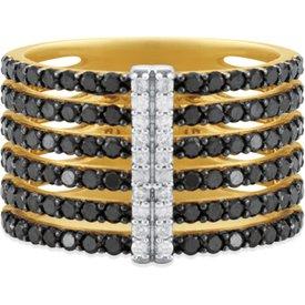 anel duo ouro amarelo diamantes brancos negros.