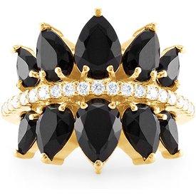 anel ouro amarelo diamantes quartzo negro