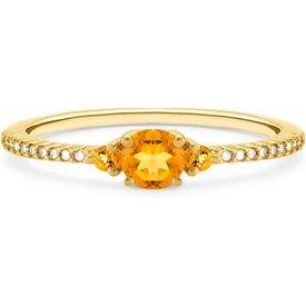 anel ouro amarelo diamante citrino
