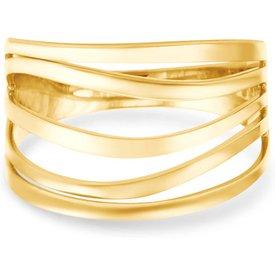 anel faixas ouro amarelo