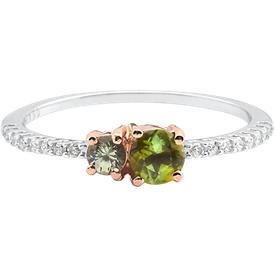 anel ouro branco ouro rosé safira turmalina diamantes
