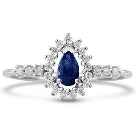 anel gota ouro branco safira diamantes