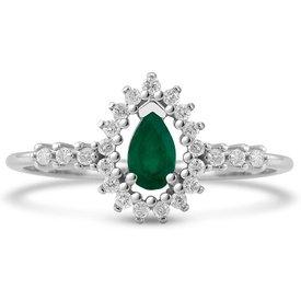 anel gota ouro branco esmeralda diamantes