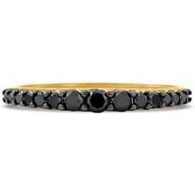anel ouro amarelo diamantes negros