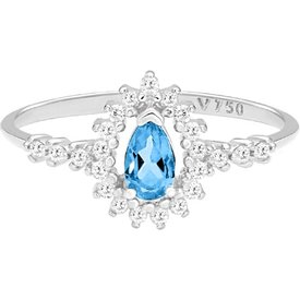 anel ouro branco topázio sky diamantes