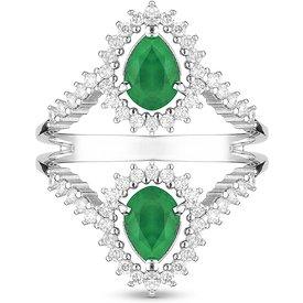 anel ouro branco esmeraldas diamantes
