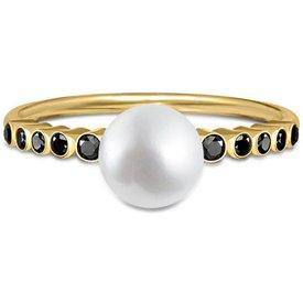 anel ouro amarelo pérola diamantes negros