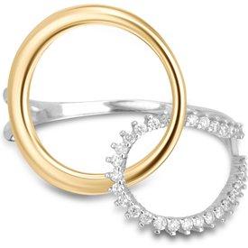 anel circolare ouro amarelo ouro branco diamantes pequeno