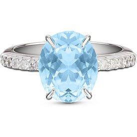 anel essenza ouro branco água marinha diamantes