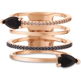 anel anelli ouro rosé quartzos negros diamantes negros brown
