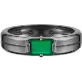 anel masculino calcedônia verde prata ródio negro