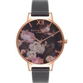 relógio olivia burton feminino couro preto  ob15wg12