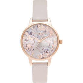 relógio olivia burton feminino couro rosa  ob16vm47