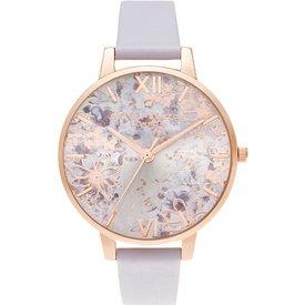 relógio olivia burton feminino couro violeta  ob16vm45
